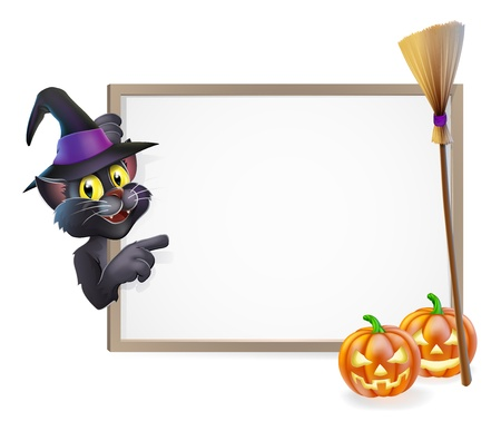 Illustration of a Halloween black witch's cat sign background