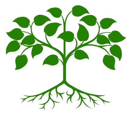 An illustration of an abstract green stylised tree Ilustracja