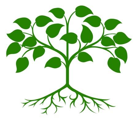 Een illustratie van een abstract groene gestileerde boom Stock Illustratie