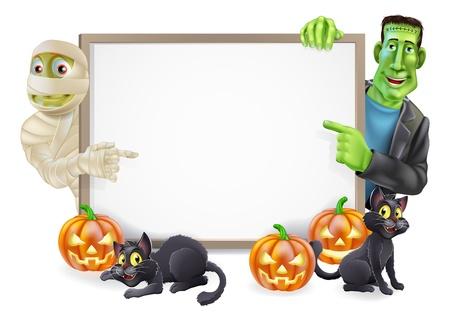 Halloween teken of banner met oranje Halloween pompoenen en zwarte heks Stock Illustratie