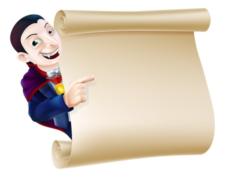 An illustration of a Halloween Vampire Dracula character peeping round a scroll sign or banner and pointing at it Illustration