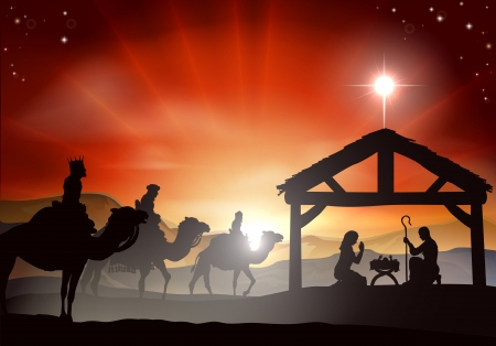 Kerstmis Kerststal met kindje Jezus in de kribbe in silhouet, drie wijzen of koningen en de ster van Bethlehem