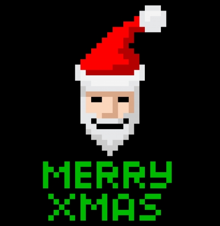 Retro arcade video game style pixel art Christmas Santa with Merry Xmas message