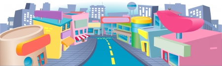 An illustration of a of cartoon shopping street with lots of interesting shops