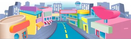 L'illustrazione di una strada commerciale di cartone animato con un sacco di negozi interessanti Archivio Fotografico - 21636613