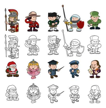 Een set van cartoon mensen of kinderen spelen dress up. Kleur en zwart-wit schets versies inbegrepen.