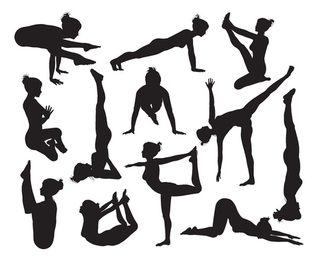 A set of highly detailed high quality yoga pose silhouettes Ilustração