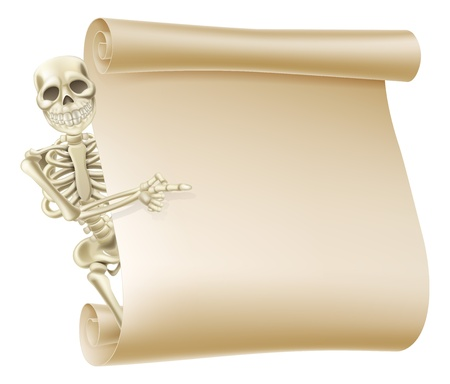 Un'illustrazione creepy ossatura che fa capolino dietro un banner di scorrimento e mostrando ciò che è scritto su di esso.