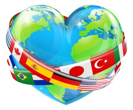Een illustratie van een hartvormige wereld earth globe met de vlaggen van verschillende landen die rond het vliegen.