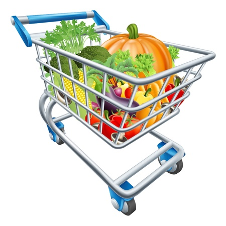 An illustration of a shopping cart trolley full of healthy fresh vegetables