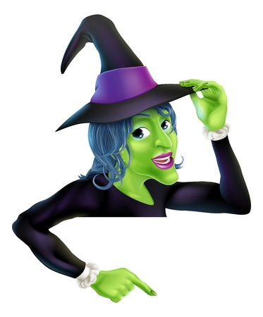 An illustration of a cartoon witch on top of banner pointing down at the message Ilustracja