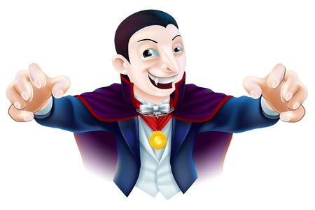 An illustration of a cute cartoon Count Dracula vampire character for Halloween