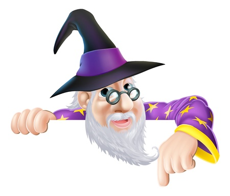 An illustration of a wizard cartoon character peeking over a sign or banner and pointing down Ilustrace