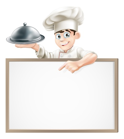 A cartoon chef holding a silver platter or cloche pointing at a banner or menu 向量圖像