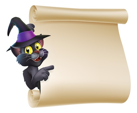 Cartoon Halloween black cat wearing witch hat  peeping round a scroll sign and pointing at what is written on it. Illustration