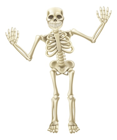 Drawing of a cute cartoon waving skeleton character. Great for Halloween or similar. Ilustração