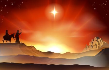 Maria en Jozef Geboorte Kerst illustratie met Maria en Jozef reis door de woestijn met een ezel en de stad Bethlehem op de achtergrond.