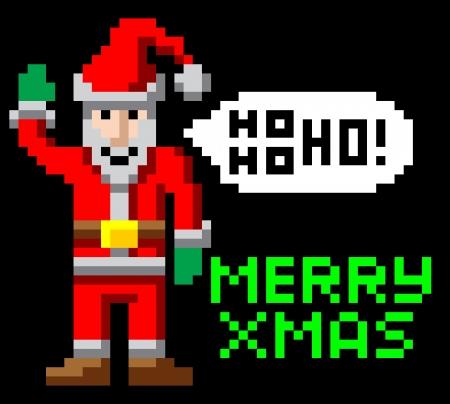 Retro arcade 8-bit video game style pixel art Christmas Santa waving with Merry Xmas message