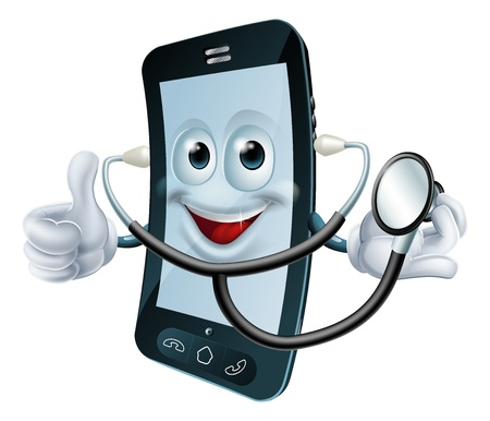Illustration of a cartoon phone character holding a stethoscope Illustration
