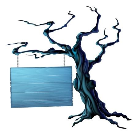 Een illustratie van een kale griezelige enge Halloween boom met een opgehangen bord opknoping van een keten op het