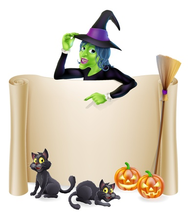 A Halloween scroll sign with a witch character above the banner and pumpkins, witch's cats, hat and broomstick Illusztráció