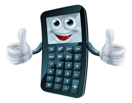 Un esempio di una calcolatrice cartone animato felice l'uomo dando un pollice in alto