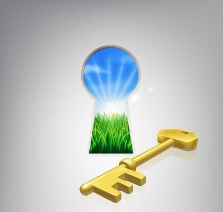 Sleutel tot geluk conceptuele illustratie van een idyllische zonsopgang boven velden gezien door een sleutelgat met een gouden sleutel. Vector Illustratie
