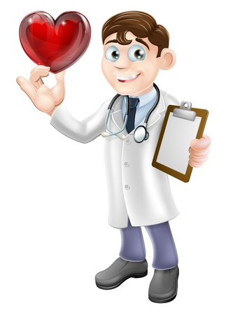 ハート形のシンボルを保持若い医者の漫画イラスト。心臓外科医や心臓病や思いやりのある医者または良い患者のケアの概念。