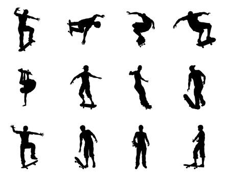 Zeer hoge kwaliteit en zeer gedetailleerde schaatsen skateboarder silhouet contouren. Skateboarders uitvoeren van tal van trucs op hun planken. Stock Illustratie