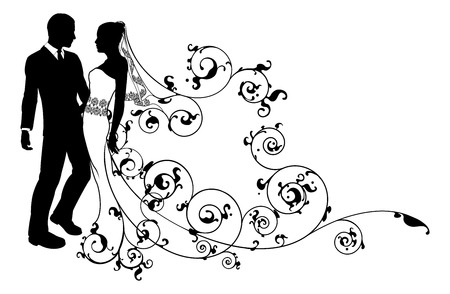 A bride and groom wedding couple in silhouette with beautiful bridal dress and abstract floral pattern. Could be having their first dance.  Illustration