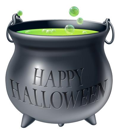 Calderone del fumetto di Halloween strega con birra spumeggiante verde della strega in esso e un messaggio di lettura Happy Halloween