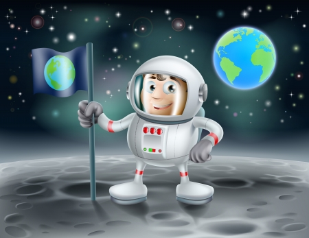 An illustration of a cute cartoon astronaut on the moon planting a flag with the planet earth in the background
