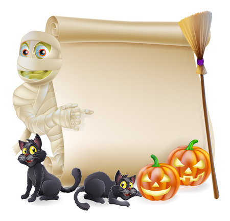 Halloween scroll or banner sign with orange carved Halloween pumpkins and black witchs cats, witchs broom stick and cartoon mummy character