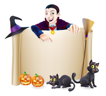 A Halloween scroll sign with a Dracula vampire character above the banner, pumpkins and witch's cats, hat and broomstick Illustration