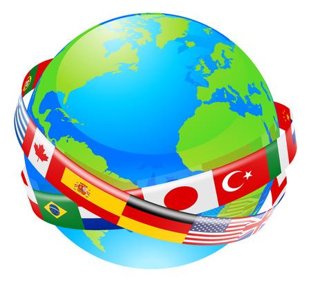 Una ilustración conceptual de un globo con las banderas de muchos países que vuelan alrededor.