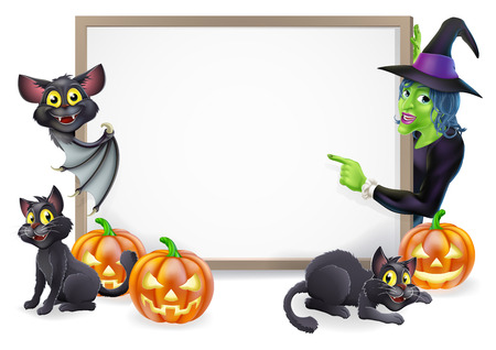 Halloween sign or banner with orange Halloween pumpkins and black witchs cats, witchs broom stick and cartoon witch and vampire bat characters