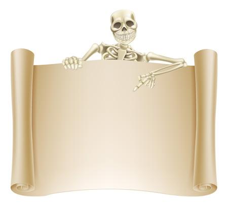L'illustrazione di un segno di scorrimento con un carattere scheletro punta verso il basso a questo. Grande per Halloween o altro tema orrore.