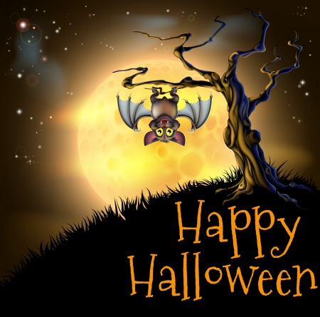 A spooky scary orange Halloween background scene with vampire bat hanging from a spooky tree with a full moon in the background Illustration