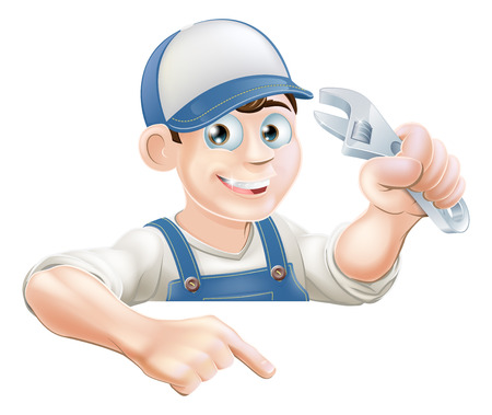 A cartoon plumber or mechanic with a wrench peeking over sign or banner and pointing at it