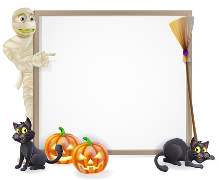 Halloween sign or banner with orange Halloween pumpkins and black witchs cats, witchs broom stick and cartoon mummy monster character