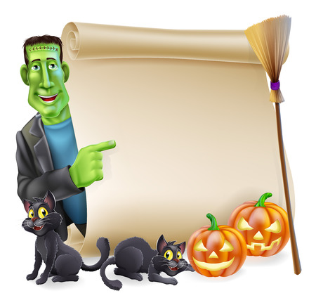 Halloween scroll or banner sign with orange carved Halloween pumpkins and black witchs cats, witchs broom stick and cartoon Frankenstein monster character