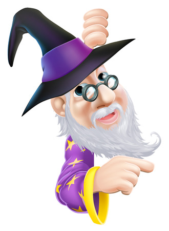 A cartoon wizard character peeping round a sign or banner and pointing