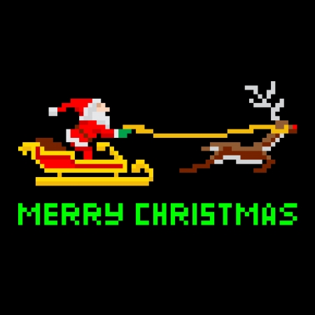 Retro arcade video game style pixel art Christmas Santa Claus in sleigh with Merry Xmas message
