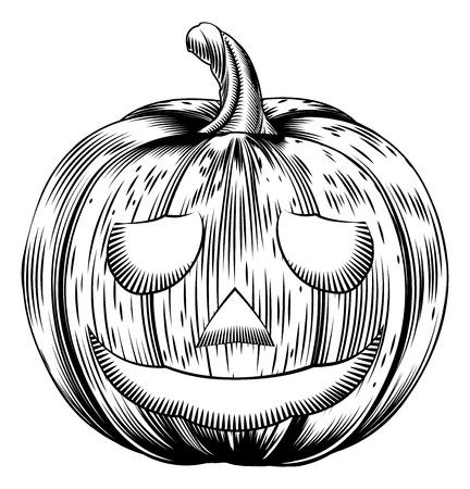 A Halloween pumpkin in a retro vintage woodblock or woodcut etching style Illusztráció