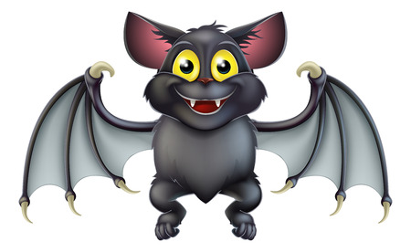 An illustration of a cute happy cartoon Halloween bat character 向量圖像