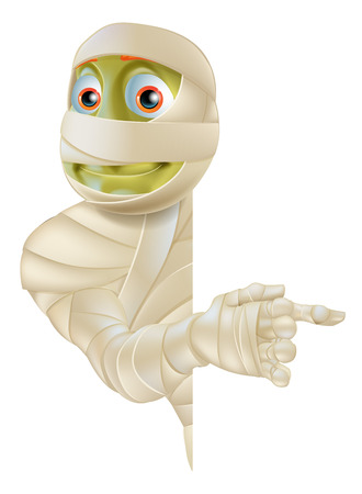 An Egyptian mummy Halloween monster peeping round a banner or sign and pointing at the sign