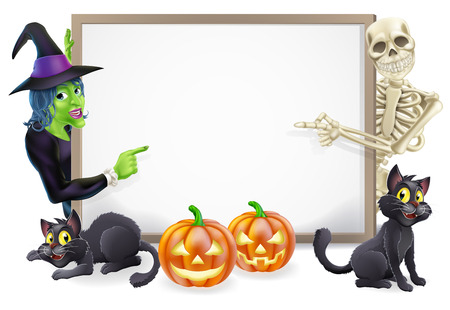 Halloween sign or banner with orange Halloween pumpkins and black witchs cats, witchs broom stick and cartoon witch and skeleton characters  Illustration