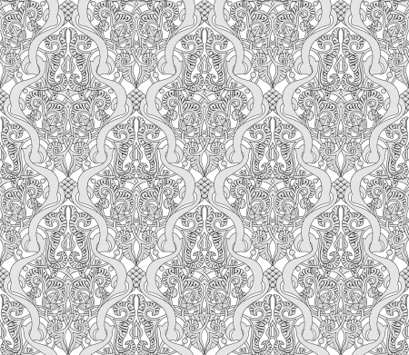 Illustration of an intricate seamlessly tilable repeating Art Nouveau motif vintage pattern