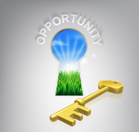 Key to opportunity conceptual illustration of an idyllic sunrise over fields seen through a keyhole with a golden key and opportunity sign over it. Could be used in business or financial opportunity context.