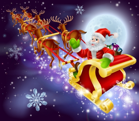 Kerst cartoon illustratie van de kerstman vliegen in zijn slee of slee door de nachtelijke hemel met de maan in de achtergrond Stock Illustratie